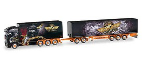 Herpa Volvo FH Delivery Truck w/Trailer - Assembled Makela (black, yellow, gold, German Lettering)