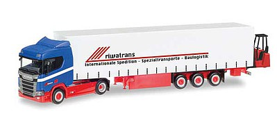 Herpa Scania CR 20 HD Tractor w/Curtain Wall Trailer & Forklift - Assembled Riwatrans (blue, red, white, German Lettering)