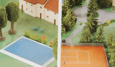Herpa Models 2 Swimming Pools, 2 Tennis Courts -- Diecast Model Airplane Accessory -- 1/500 Scale -- #520379