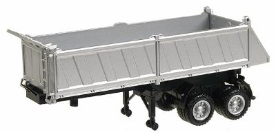 Herpa Models 27' Gravel Dump Trailer - Assembled - Silver -- HO Scale Model Railroad Vehicle -- #5288