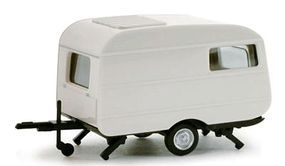Herpa Qek Camping Trailer - White HO Scale Model Railroad Vehicle #53099