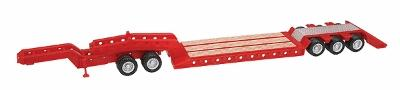 Herpa Heavy Equipment Trailer - Assembled - Red HO Scale Model Railroad Vehicle #5392