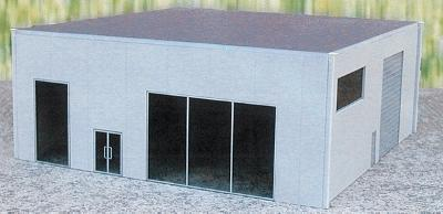 Herpa Dealership (Plastic Kit) - Gray HO Scale Model Railroad Building #6327