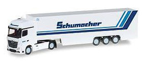 Herpa Mercedes Actros Tractor w/Van Trailer - Assembled Schumacher (white, blue, German Lettering) - N-Scale