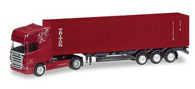 Herpa Mercedes-Benz Actros Tractor w/Container Trailer - Assembled Schmid (red, white, Triton Container, German Lettering) - N-Scale