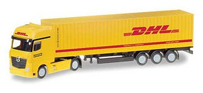 Herpa Mercedes-Benz Actros Tractor w/Container Trailer - Assembled DHL (yellow, red, German Lettering) - N-Scale
