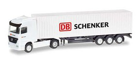 Herpa Mercedes-Benz Actros Tractor w/Container Trailer - Assembled DB Schenker (white, red, black) - N-Scale