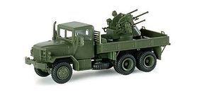 Herpa US/NATO M35 Truck w/Quad .50 Anti-Aircraft Gun HO Scale Model Railroad Vehicle #741538