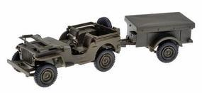 Herpa 1/4-Ton General Purpose Truck (Jeep) & Covered Trailer HO Scale Model Railroad Vehicle #741989