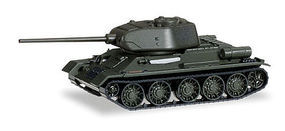 Herpa T-34 Tank 85 w/D-5 Gun Soviet Army (green) HO Scale Model Railroad Vehicle #745543