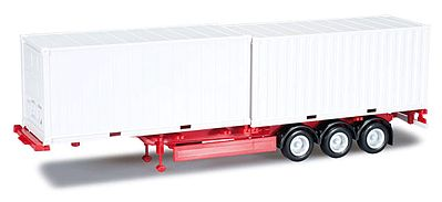 Herpa Trailer w/2 20 Containers Red Chassis White Containers HO Scale Model Railroad Vehicle #76494