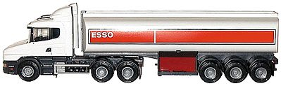 Herpa Models Scania T-Cab Tanker ESSO (White/Red) -- G Scale Model Railroad Vehicle -- #90400