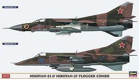 Hasegawa Mikoyan-23/Mikoyan-27 Flogger Combo Limited Plastic Model Airplane 1/72 Scale #02108
