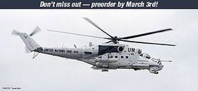 Hasegawa Mi-24 Hind United Nations Plastic Model Helicopter Kit 1/72 Scale #02192