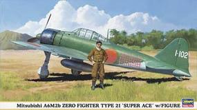 Hasegawa Mitsubishi A6M2b Zero Type 21 Super Ace Plastic Model Airplane Kit 1/48 Scale #09904