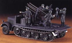 Hasegawa SdKfz7 8-Ton Half Track w/Quad 20mm AA Guns -- Plastic Model Halftrack Kit -- 1/72 Scale -- #31114