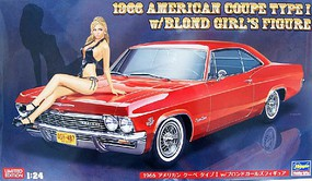 Hasegawa 1966 Chevy Impala Super Sport Car with Girl Figure Plastic Model Car Kit 1/24 Scale #52202