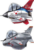 Hasegawa Eggplane F-2/T-4 ADTW 60th Anniversary (2 Kits) Plastic Model Airplane No Scale #60513