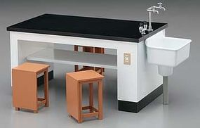 Hasegawa Science Room Desk & Chairs Plastic Model Diorama 1/12 Scale #62004
