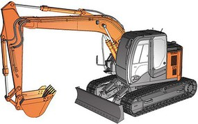 Hasegawa Hitachi Excavator Z Axis 135 US Plastic Model Kit 1/35 Scale #66001