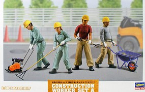 Hasegawa 1/35 Construction Workers Set A- Road Paving Workers (4) w/Accessories