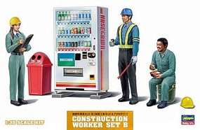 Hasegawa 1/35 Construction Workers Set B- Workers at Rest (3) w/Soda Machine