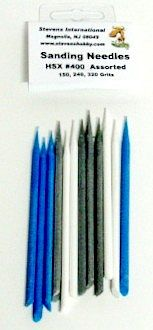 HObby-Stix Assorted Sanding Needles (3 each of 3 diff grits/Bag) Sanding Tool Sandpaper #400