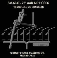 Hi-Tech HO AAR 22'' Real Rubber Air Hoses w/Brackets (8)