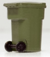 Hi-Tech Details HO Olive Green Yard Trash Cans (6)