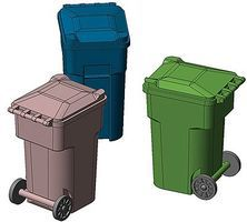 Hi-Tech HO Blue Recycling Trash Cans (6)