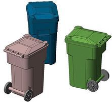 Hi-Tech HO Green Yard Trash Cans (6)