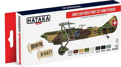 Hataka Hobby Red Line (Airbrush-Dedicated)- WWII Swiss AF 1930s-40s Paint Set (8 Colors) 17ml Bottles (D)