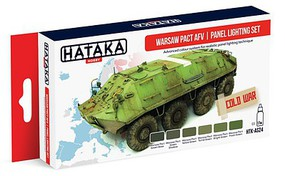 Hataka Red Line (Airbrush-Dedicated)- Warsaw Pact AFV Panel Lighting Paint Set (6 Colors) 17ml Bottles