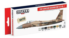Hataka Red Line (Airbrush-Dedicated)- USAF Aggressor Sq. F15/16 Fleet Vol.1 Paint Set (8 Colors) 17ml Bottles