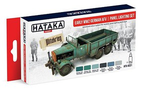 Hataka Red Line (Airbrush-Dedicated)- Early WWII German AFV Panel Lighting Paint Set (6 Colors) 17ml Bottles