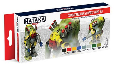 Hataka Red Line (Airbrush-Dedicated)- Combat Mechas & Robots Sci-Fi Camouflage Paint Set (8 Colors) 17ml Bottles