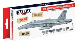 Hataka Red Line (Airbrush-Dedicated)- USAF, USN & USMC Modern Greys Paint Set (8 Colors) 17ml Bottles