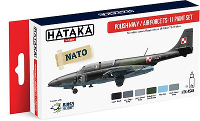 Hataka Hobby Red Line (Airbrush-Dedicated)- Polish Navy AF TS11 Camouflage Paint Set (6 Colors) 17ml Bottles