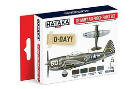 Hataka Red Line (Airbrush-Dedicated)- USAAF 1939-45 Camouflage Paint Set (4 Colors) 17ml Bottles