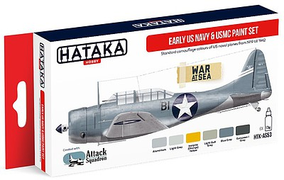 Hataka Red Line (Airbrush-Dedicated)- Early USN & USMC 1919-42 Camouflage Paint Set (6 Colors) 17ml Bottles