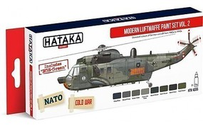 Hataka Red Line (Airbrush-Dedicated)- Modern Luftwaffe 1980s-90s Vol.2 Paint Set (8 Colors) 17ml Bottles