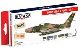 Hataka Red Line (Airbrush-Dedicated)- Modern Belgian AF 1950s-80s Vol.1 Paint Set (8 Colors) 17ml Bottles