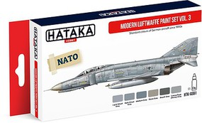 Hataka Red Line (Airbrush-Dedicated)- Modern Luftwaffe Since 1990s Vol.3 Paint Set (6 Colors) 17ml Bottles