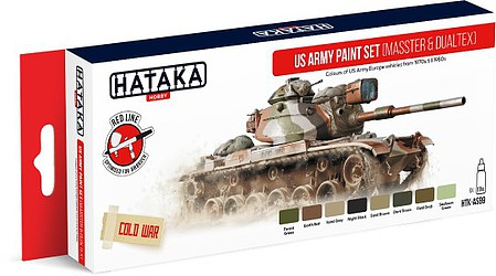 Hataka Red Line (Airbrush-Dedicated)- US Army Europe Vehicles 1970s-80s Paint Set (8 Colors) 17ml Bottles