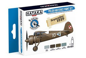 Hataka Blue Line (Brush-Dedicated)- Polish AF 1919-39 Camouflage Paint Set (4 Colors) 17ml Bottles
