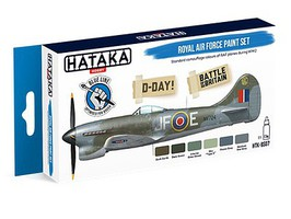 Hataka Blue Line (Brush-Dedicated)- RAF D-Day Battle of Britain Camouflage Paint Set (6 Colors) 17ml Bottles