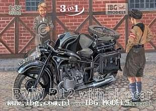 IBG Models Civilian BMW R12 Motorcycle with Sidecar -- Plastic Model Motorcycle Kit -- 1/35 Scale -- #35001