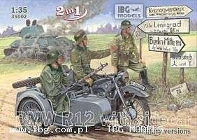 IBG Military BMW R12 Motorcycle with Sidecar Plastic Model Motorcycle Kit 1/35 Scale #35002