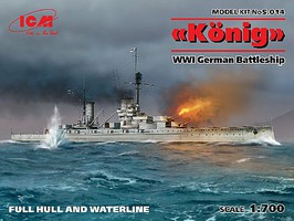 ICM WWI German Konig Battleship (New Tool) Plastic Model Military Ship Kit 1/700 Scale #14