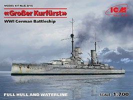 ICM WWI German Grosser Kurfurst Battleship Plastic Model Military Ship Kit 1/700 Scale #15